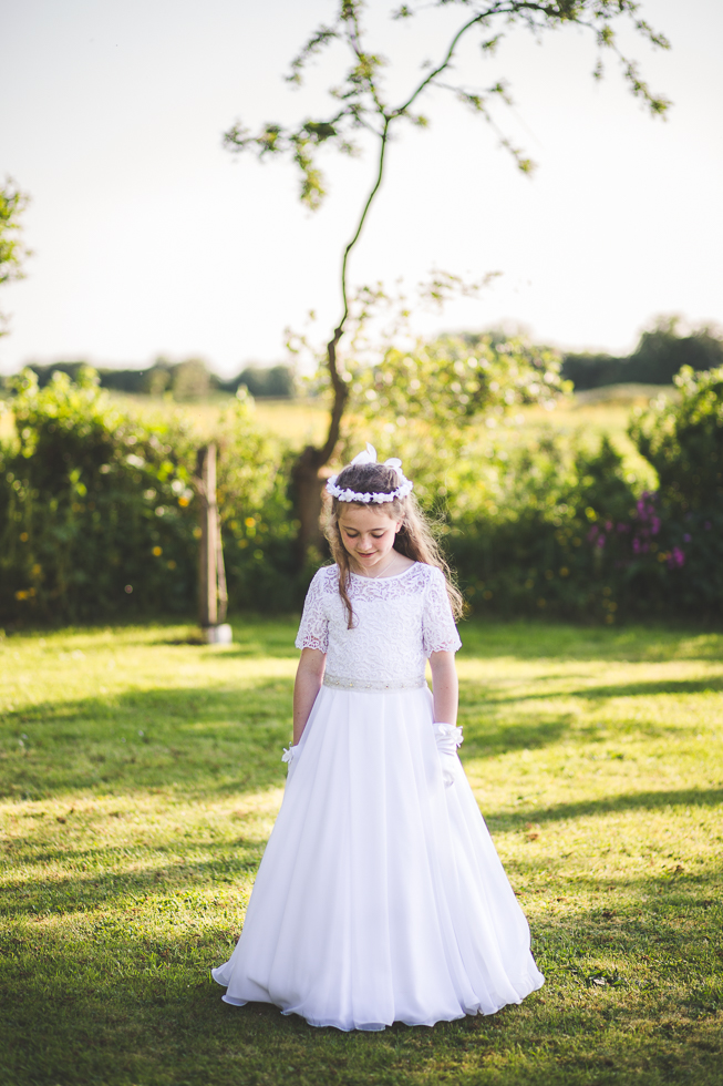 Girl wearing her First Holy Communion Dress